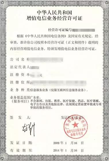 ICP许可证样式