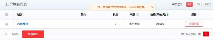 六合.集团中文域名以一口价价格9万进行拍卖