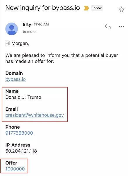 特朗普报价100万美元欲购后缀.io域名