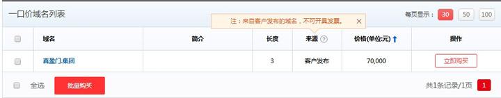 喜盈门.集团中文域名以一口价价格7万进行拍卖