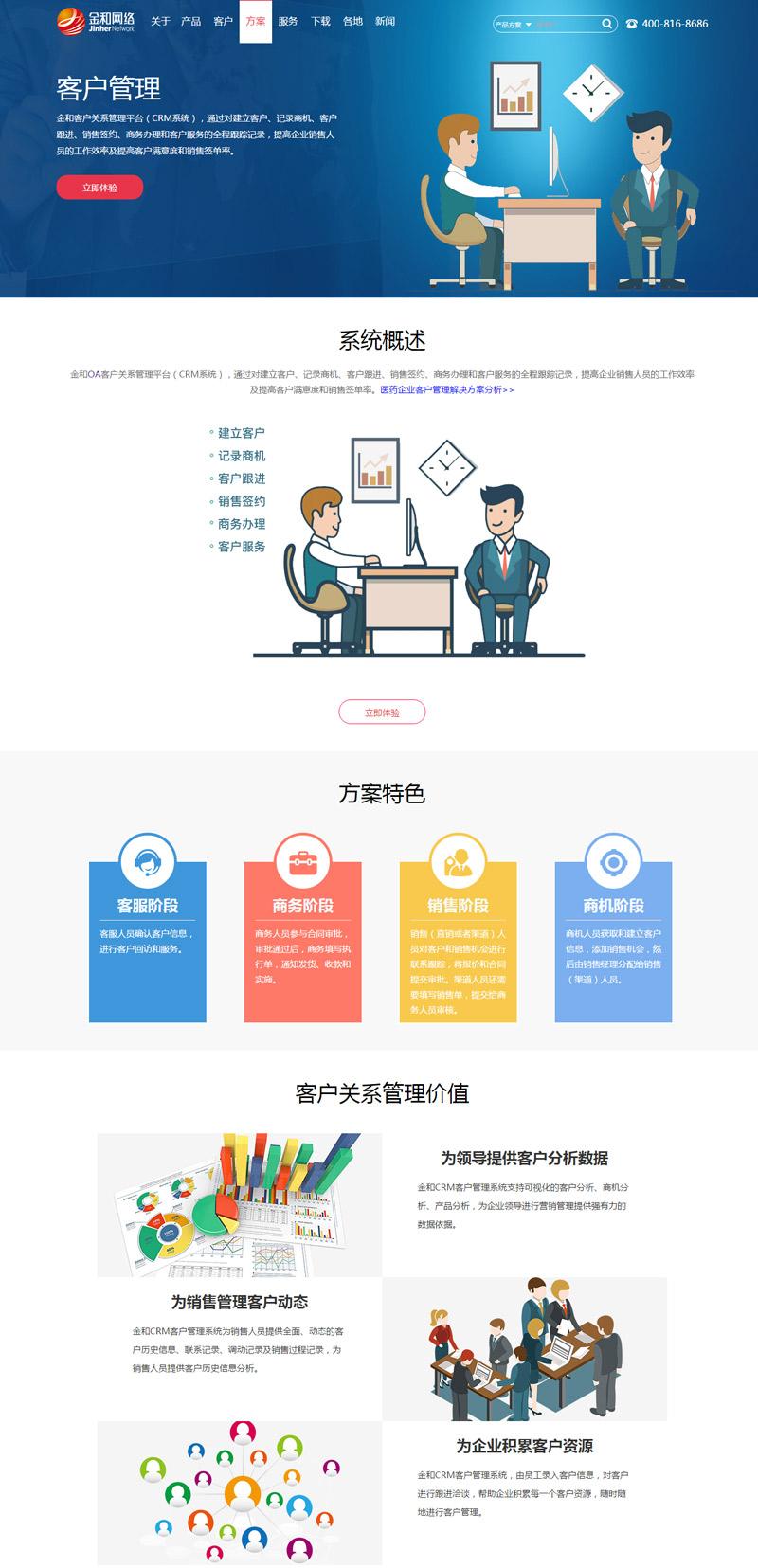 金和网络网站行业解决方案设计