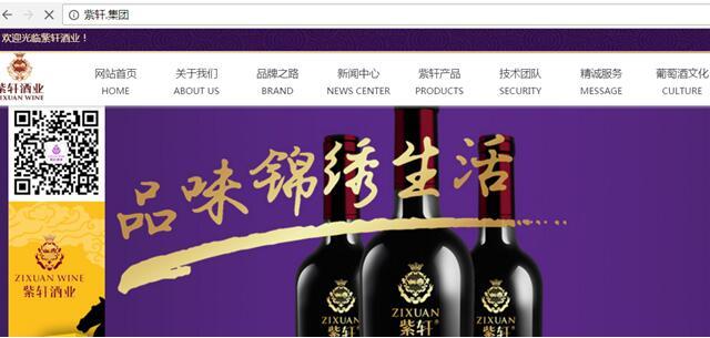 紫轩酒业启用中文域名