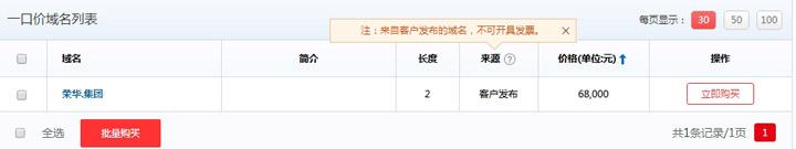 荣华.集团中文域名以一口价价格6.8万进行拍卖